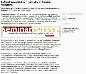 Pressemeldung Guerilla-Marketing meets Social Media Bad Abbach Stefan Frisch