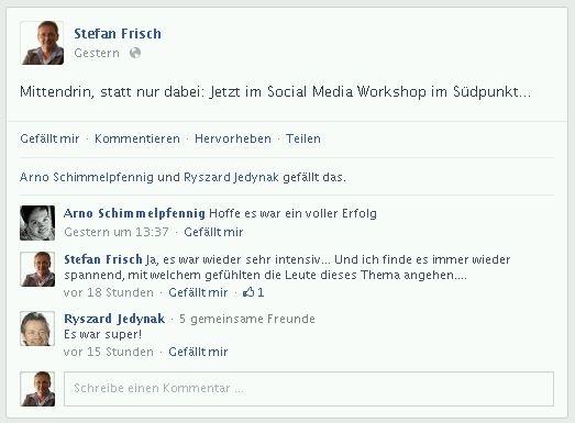 Facebook-Feedback zu einem Social Media Workshop