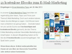 E-Mail-Marketing: 21 kostenlose E-Books zum Thema
