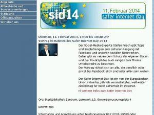 Social-Media-Vortrag im Rahmen des Safer Internet Day am 11.02.2014